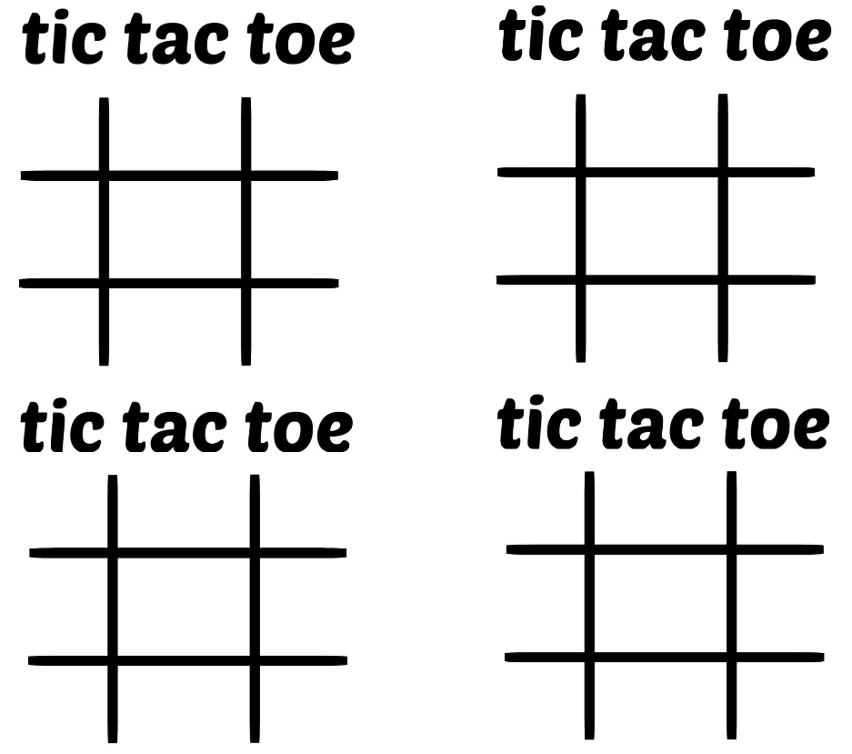 Printable Tic Tac Toe Text Template Board to Print